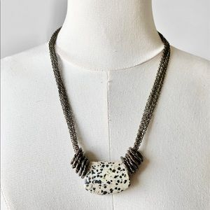 Multicolor Marble Stone Statement Brass Necklace